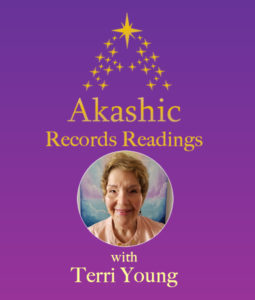purple background with gold stars and round image of Terri Young