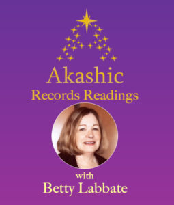 Akashic Guide, Betty Labbate, with black jacket on purple background