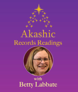 Purple Background with Gold Stars and round image of Betty Labbate