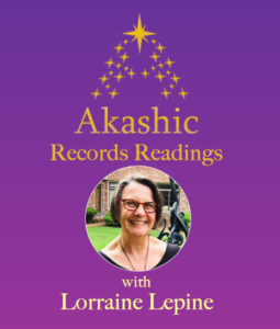 purple background with gold stars and round image of lorraine lepine in black top